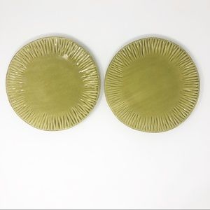 Green Stoneware Plates Handpainted in Italy